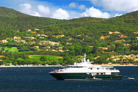 Luxury yacht at the mediterranean coast of French Riviera Stock Photo - 3024904