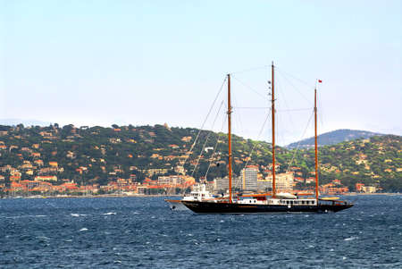 Luxury yacht at the mediterranean coast of French Riviera photo