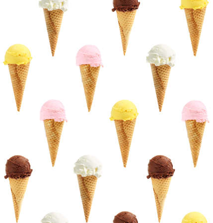 Seamless background of assorted ice cream cones photo