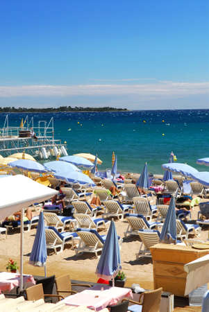glitzy: Beach along Croisette promenade in Cannes, France