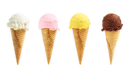 Assorted ice cream in sugar cones isolated on white background Stock Photo - 3051553