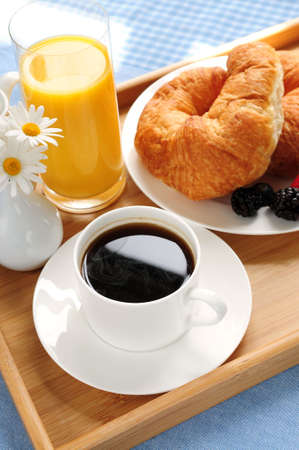Breakfast served on a tray on a sunny morning Stock Photo - 3069605
