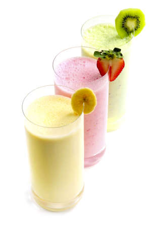 natural selection: Various fruit smoothies isolated on white background