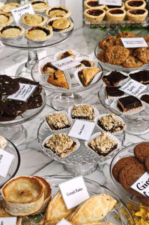 window display: Various desserts on display in bakery window