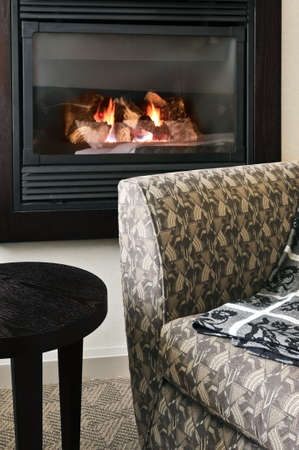 chemin�e gaz: Foyer et confortable fauteuil dans le salon