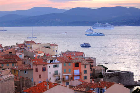 View at St.Tropez and anchored ships at sunset in French Riviera Stock Photo - 3185398
