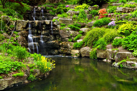 Cascading waterfall and pond in japanese garden Stock Photo - 3185506