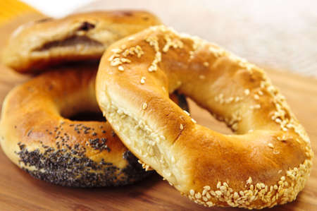 several breads: Fresh assorted Montreal style bagels close up