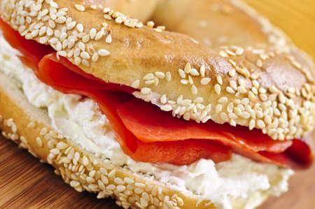 multi grain sandwich: Fresh bagel with smoked salmon and cream cheese