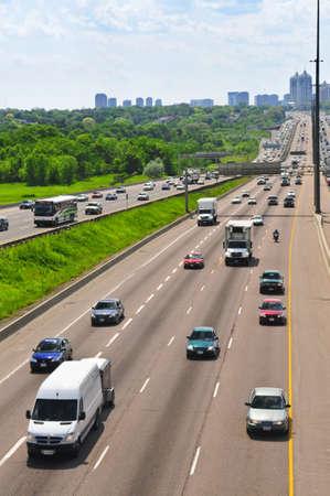 express lane: Busy multi-lane highway in a big city