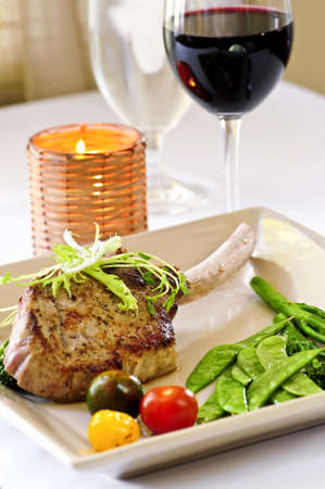 Gourmet dinner of veal rib chop and vegetables Stock Photo - 3213957