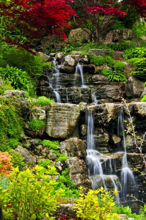 Cascading waterfall in japanese garden in springtime Stock Photo - 3213973