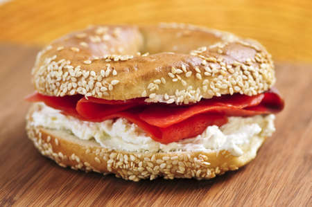 Fresh bagel with smoked salmon and cream cheese photo