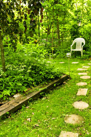 Path of stepping stones leading to secluded corner in lush green garden photo