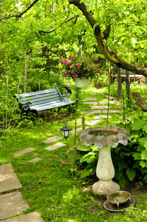 Path of stepping stones leading into lush green garden photo