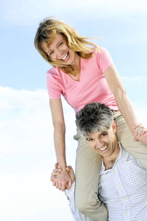 Mature  couple of  boomers enjoying outdoors photo