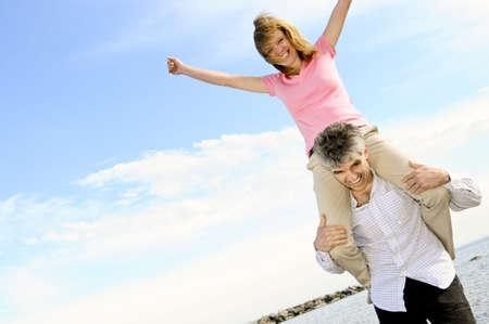 Mature  couple of  boomers enjoying outdoors photo