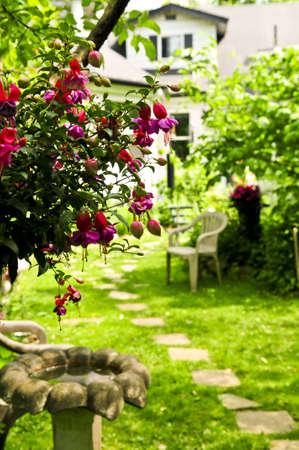 무성한 녹색 정원에 집으로 이어지는 스테핑 스톤의 경로