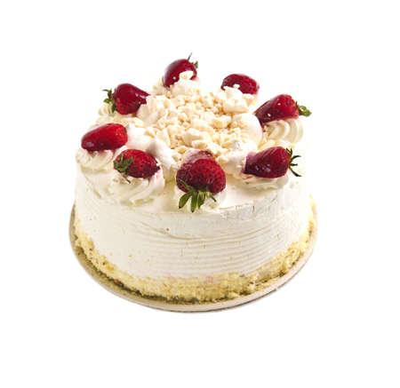 Meringue: Strawberry meringue cake isolated on white background