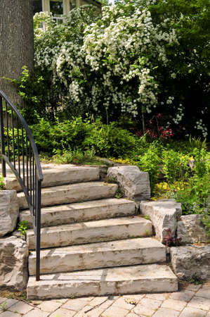 Landscaped front yard with natural stone steps Фото со стока - 3267847