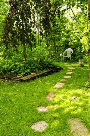 path cottage garden: Path of stepping stones leading to secluded corner in lush green garden