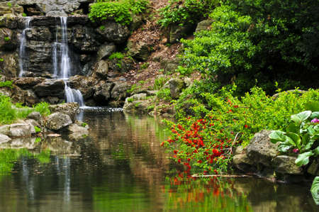 Cascading waterfall and pond in japanese garden Stock Photo - 3267834