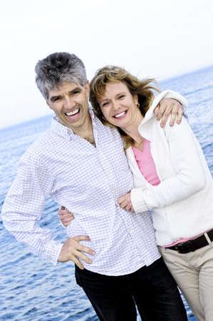 Portrait of mature  couple at seashore