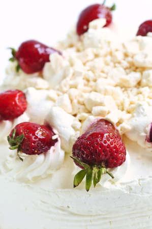Strawberry meringue cake close up on white background Stock Photo - 3343613