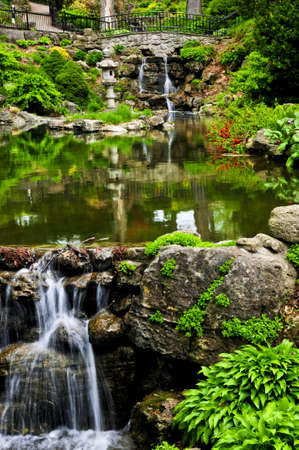 Cascading waterfall and pond in japanese garden photo