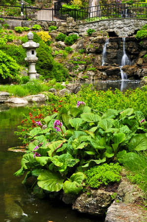 Cascading waterfall and pond in japanese garden Stock Photo - 3343663