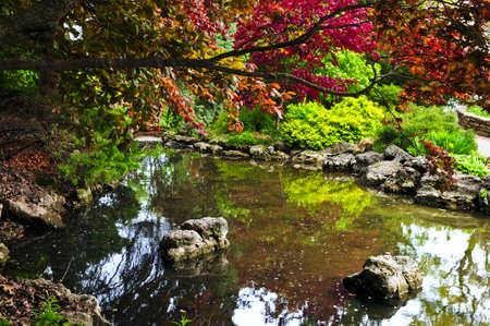 Pond with natural stones in japanese zen garden