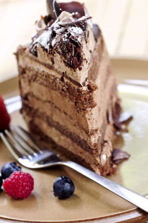 Slice of chocolate mousse cake served on a plate 版權商用圖片