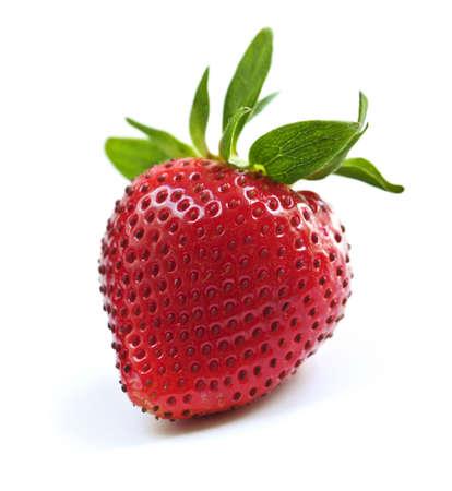 Single fresh strawberry isolated on white background photo