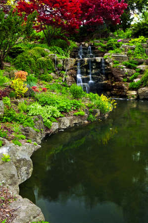 Cascading waterfall and pond in japanese garden Stock Photo - 3352465