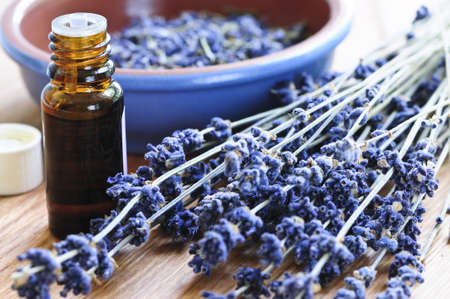 Dried lavender herb and essential aromatherapy oil Imagens