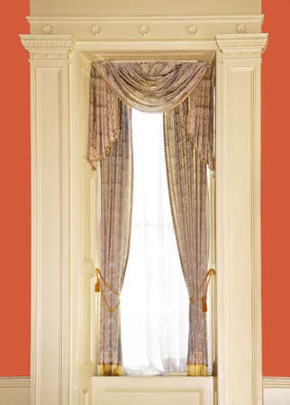 Dressed window with curtains in luxury home Фото со стока - 3375635