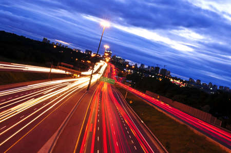 Night traffic on a busy city highway in Toronto Stock Photo - 3408771