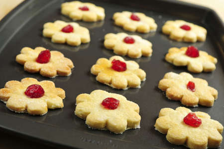 shortbread: Fresh shortbread cookies on a baking tray