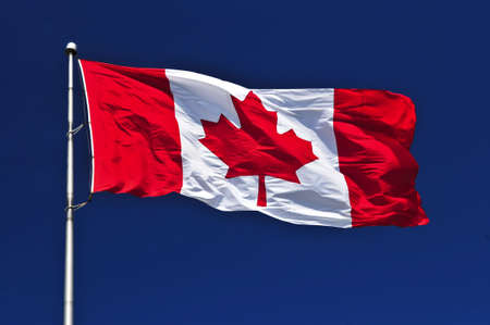 Flag of Canada waving in the wind on blue sky background Фото со стока