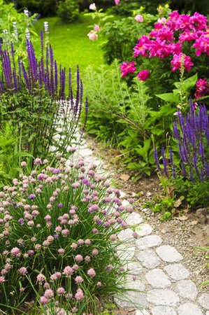 home garden: Lush blooming summer garden with paved path Stock Photo