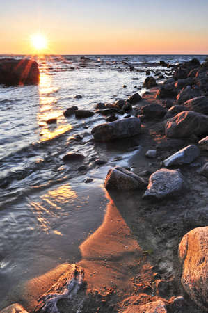 Sunset at the rocky shore of Georgian Bay, Canada. Awenda provincial park. Stock Photo - 3531684