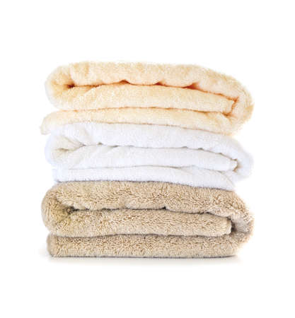 luxuries: Stack of soft towels isolated on white background