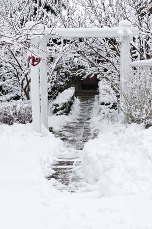 Path leading to a house after heavy snowfall