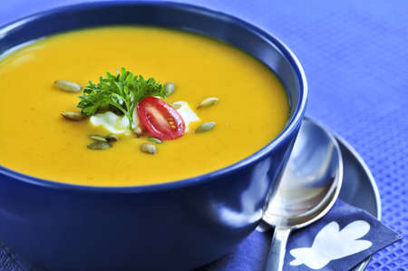 Pumpkin or squash soup in a bowl Stock Photo - 3564653