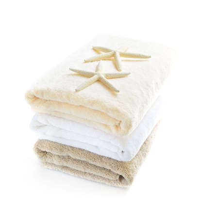 Stack of soft towels isolated on white background Stock Photo - 3564657