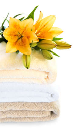 Stack of soft towels isolated on white background Stock Photo - 3564659