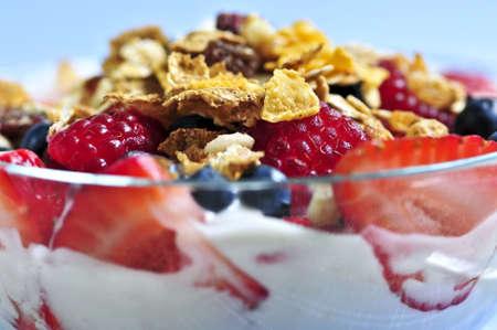 Serving of yogurt with fresh berries and granola photo