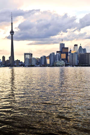 Scenic view at Toronto city waterfront skyline at sunset Editorial