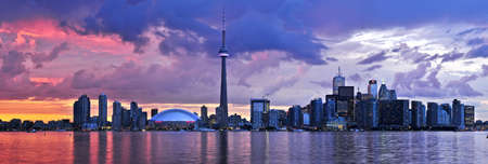 Scenic view at Toronto city waterfront skyline at sunset Stock Photo