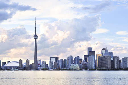 building cn tower: Toronto city waterfront skyline in late afternoon